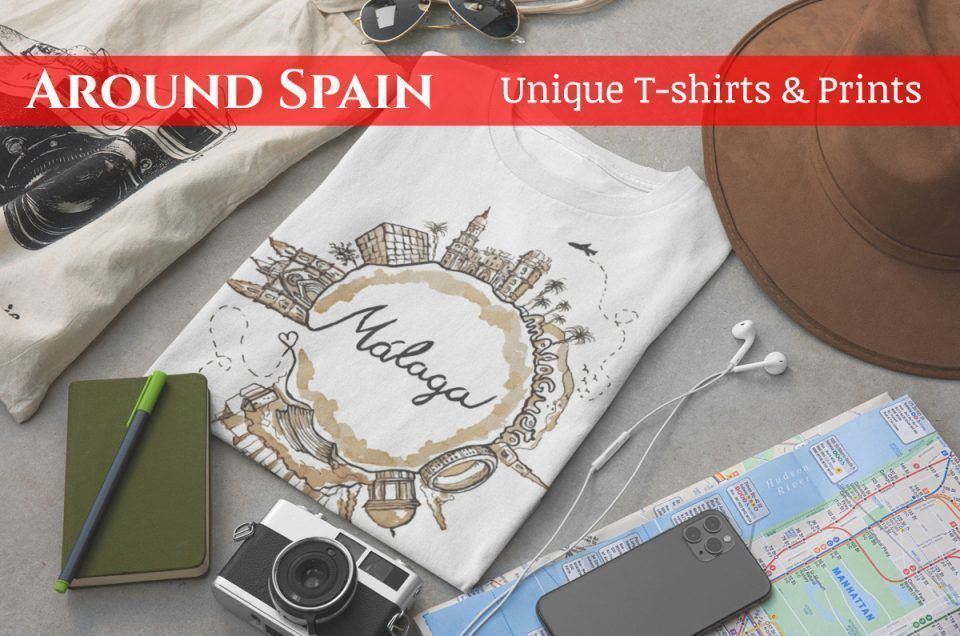Clothing and print collection of Spanish popular destinations